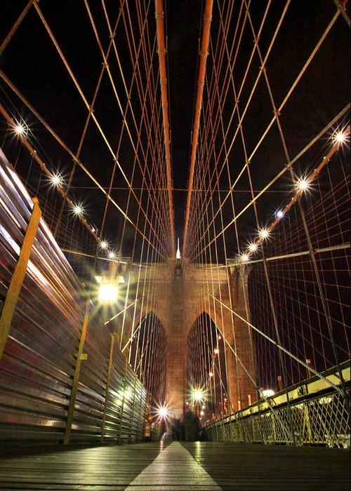 New York Greeting Card featuring the pyrography Brooklyn Bridge by Nikolas Kolenich