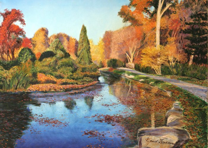 Landscape Paintings Greeting Card featuring the painting Brookside Garden by David Zimmerman