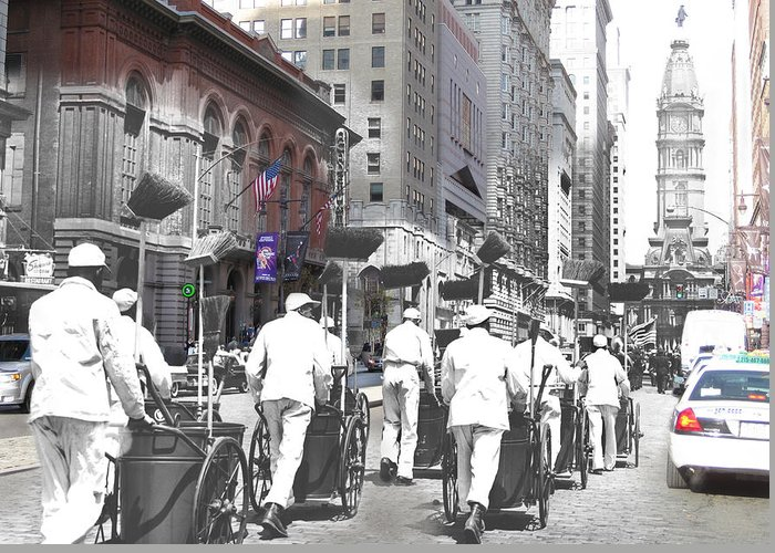 Philadelphia Greeting Card featuring the photograph Broom Brigade by Eric Nagy