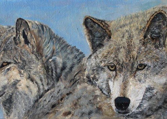 Wolves Greeting Card featuring the painting Brother And Sister Wolves by Cecile Fortier