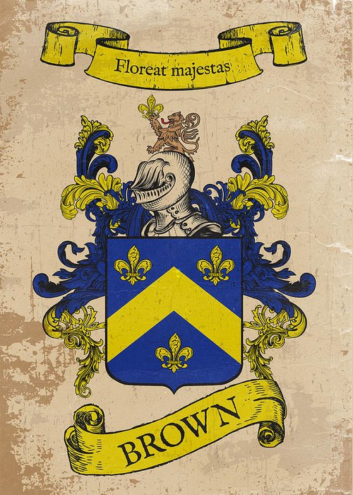 Coat Of Arms Greeting Card featuring the drawing Brown Coat Of Arms - England by Daniel Clark