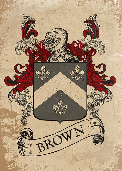 Coat Of Arms Greeting Card featuring the drawing Brown Coat Of Arms - Scotland by Daniel Clark