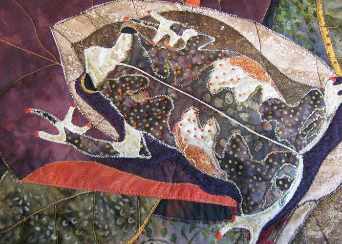 Tapestries Textiles Greeting Card featuring the tapestry - textile Brown Forest Toad by Lynda K Boardman