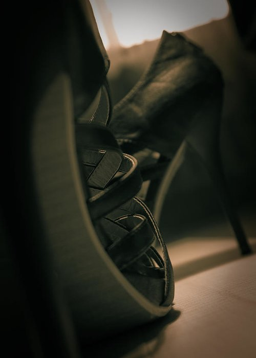 Brown Greeting Card featuring the photograph Brown High Heels Stylish Shoes by Vlad Baciu