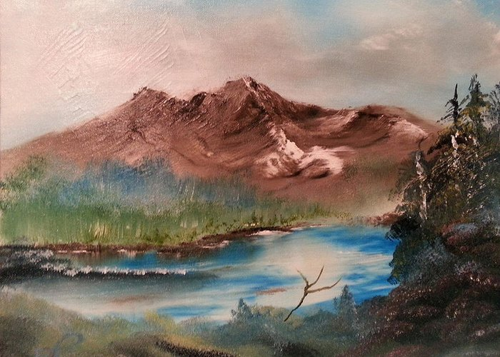 Brown Greeting Card featuring the painting Brown Mountain by Bryan Perry