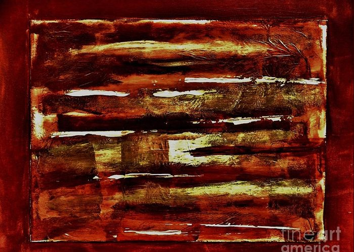 Painting Greeting Card featuring the painting Brown Red And Golds Abstract by Marsha Heiken