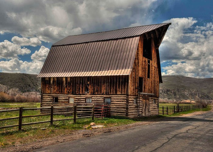 Barn Greeting Card featuring the photograph Brown Roof Barn by Stan Manning