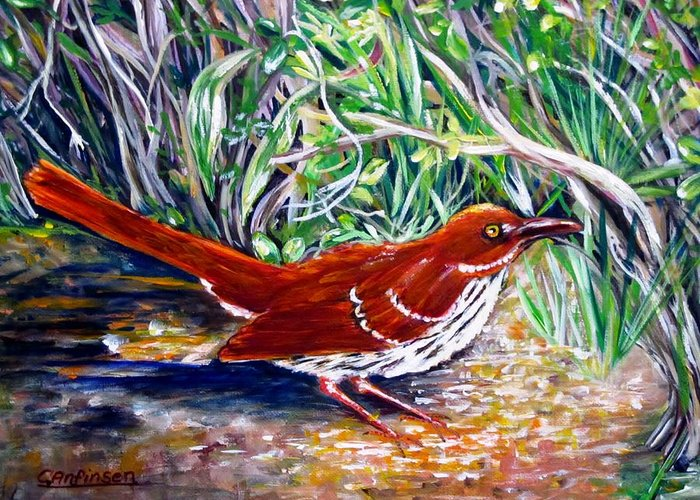 Brown Thrasher Greeting Card featuring the painting Brown Thrasher In Sunlight by Carol Allen Anfinsen