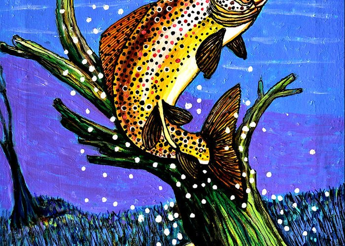 Brown Trout Greeting Card featuring the painting Brown Trout by Bob Crawford
