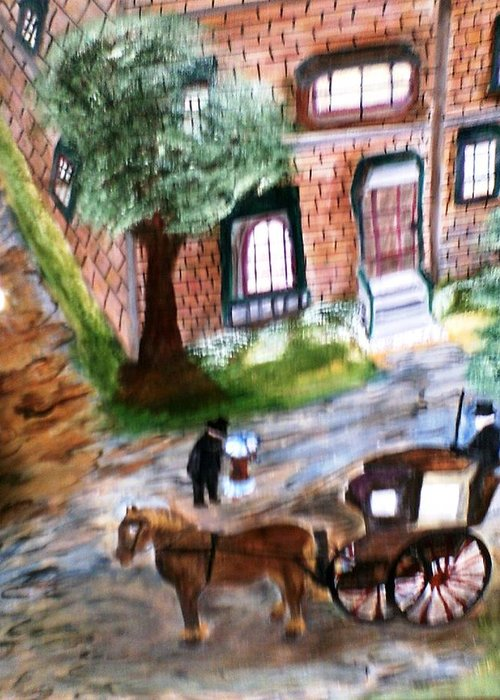 Landscape Greeting Card featuring the painting Brownstone-1800 by Karen Lipek