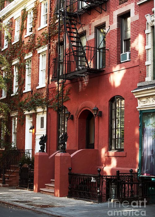 Building Greeting Card featuring the photograph Brownstone by John Rizzuto