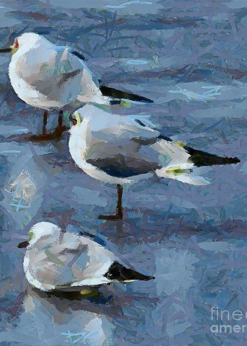 Expression Greeting Card featuring the painting Brrr It's Cold by Dragica Micki Fortuna
