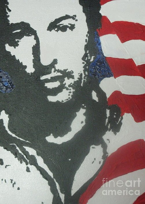 Rock N Roll Greeting Card featuring the painting Bruce by Moira Ferguson