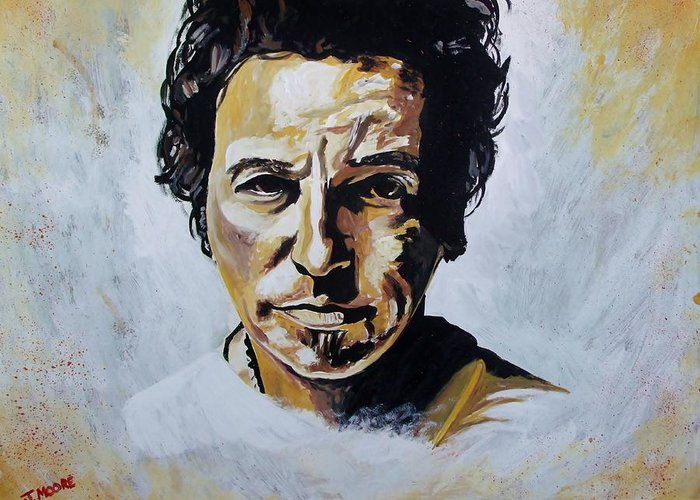 Bruce Greeting Card featuring the painting Bruce Springsteen by Jeremy Moore