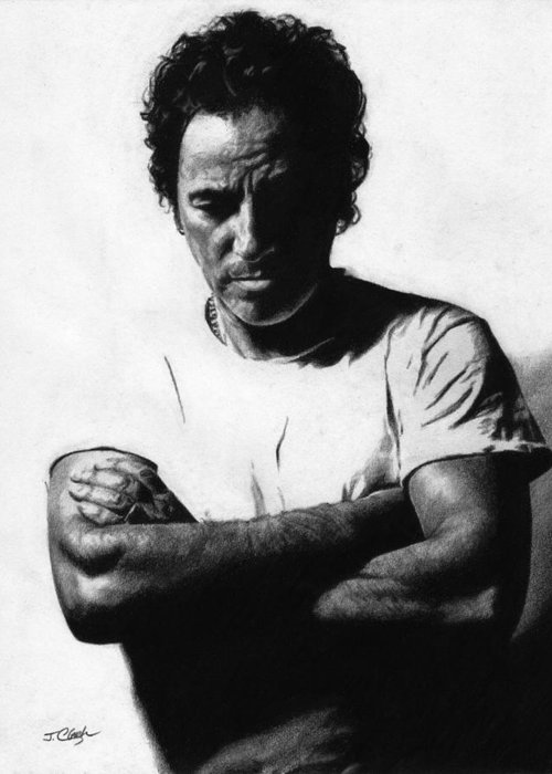 Bruce Springsteen Greeting Card featuring the drawing Bruce Springsteen by Justin Clark