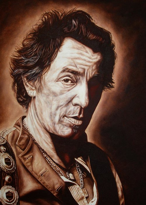Bruce Springsteen Greeting Card featuring the painting Bruce Springsteen by Mark Baker