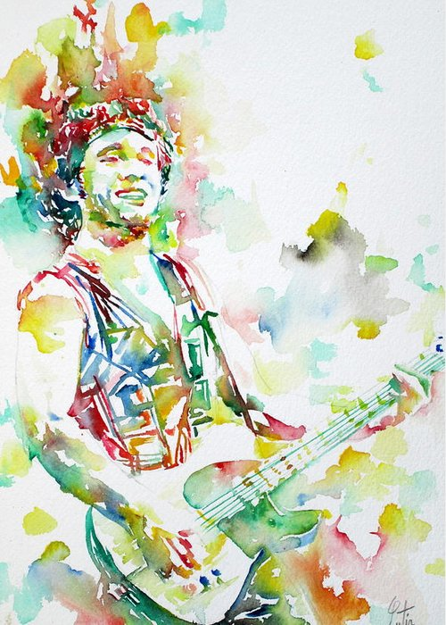 Bruce Greeting Card featuring the painting Bruce Springsteen Playing The Guitar Watercolor Portrait.2 by Fabrizio Cassetta