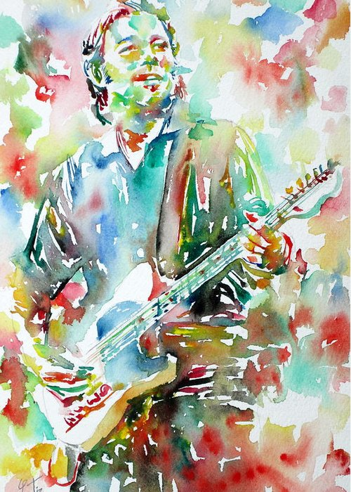 Bruce Greeting Card featuring the painting Bruce Springsteen Playing The Guitar Watercolor Portrait.3 by Fabrizio Cassetta