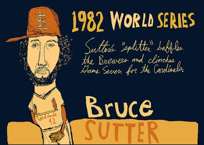 Bruce Sutter St Louis Cardinals Greeting Card featuring the painting Bruce Sutter St Louis Cardinals by Jay Perkins