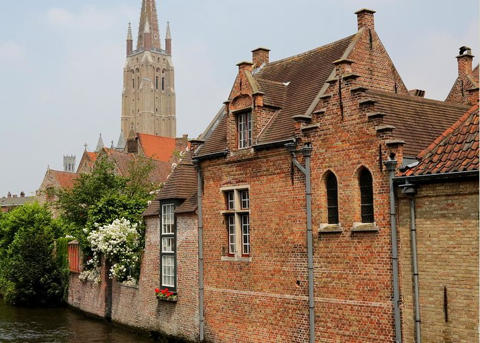 Bruges Greeting Card featuring the photograph Bruges Houses With Bell Tower by Carol Groenen