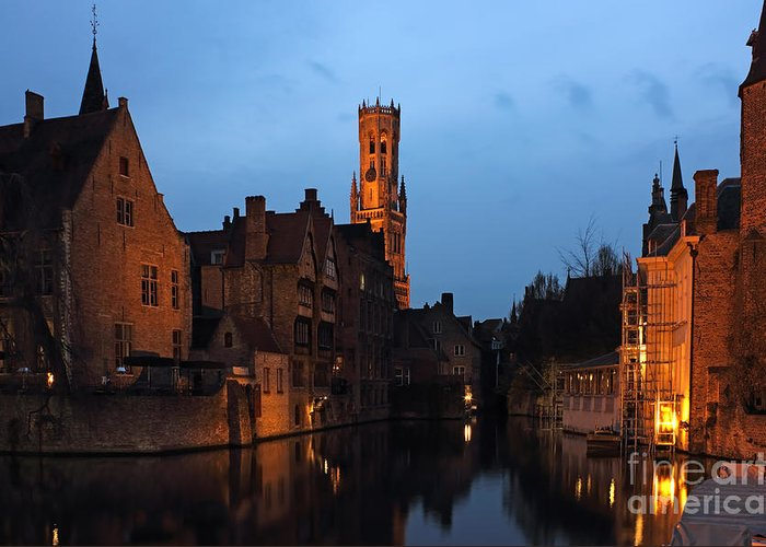 Reflection Greeting Card featuring the photograph Bruges Rozenhoedkaai Night Scene by Kiril Stanchev