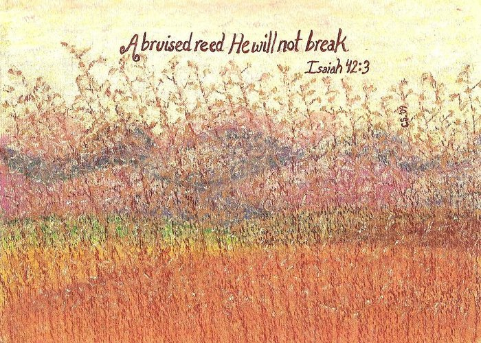 Grass Greeting Card featuring the painting Bruised Reed by Catherine Saldana