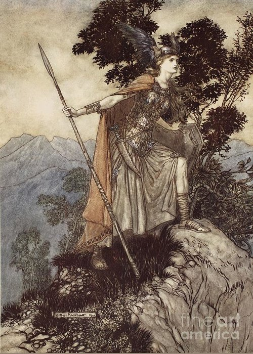 Der Ring Des Nibelungen; The Ring Of The Nibelung; Myth; Legend; Opera; The Ring Cycle; Die Walkure; Richard Wagner; Viking; Norse Mythology; Female; Warrior; Brunhilde; Brynhildr; Spear; Armour; Strength; Powerful; Femme Fatal Greeting Card featuring the drawing Brunnhilde From The Rhinegold And The Valkyrie by Arthur Rackham