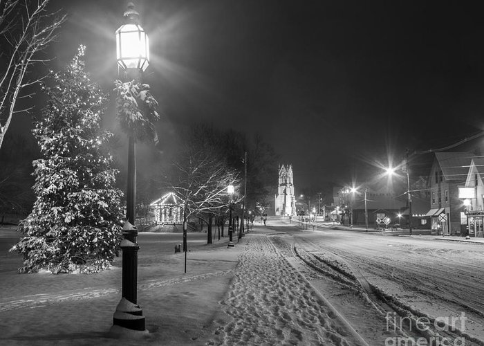 Black And White Greeting Card featuring the photograph Brunswick Maine by Benjamin Williamson
