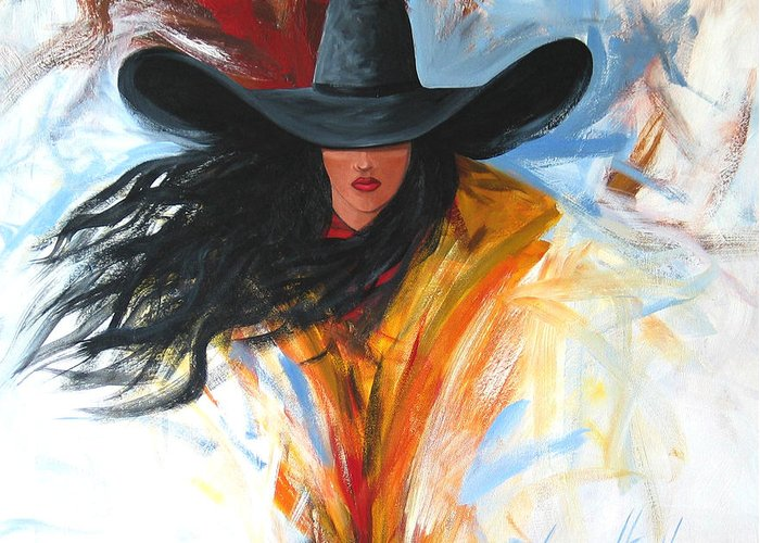 Cowgirl Greeting Card featuring the painting Brushstroke Cowgirl by Lance Headlee