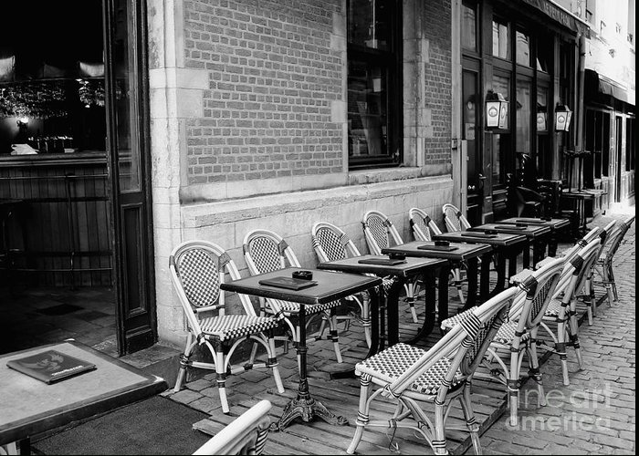 Brussels Greeting Card featuring the photograph Brussels Cafe In Black And White by Carol Groenen