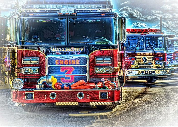Fire Trucks Greeting Card featuring the photograph Brute Strength by Arnie Goldstein