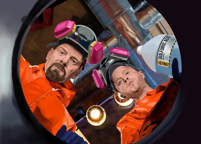 Aaron Paul Greeting Card featuring the digital art Bryan Cranston as Walter White and Aaron Paul as Jesse Pinkman @ TV serie Breaking Bad by Gabriel T Toro