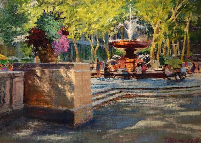 Bryant Park Paintings Greeting Cards