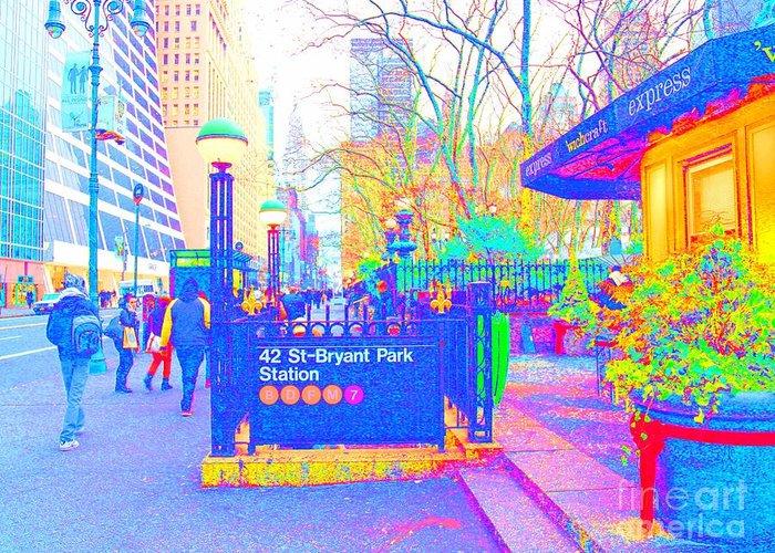 Urban Art Greeting Card featuring the photograph Bryant Park by Dan Hilsenrath