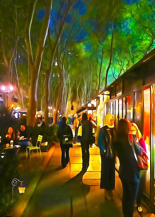 City Paintings Greeting Card featuring the photograph Bryant Park Evening by Richard Trahan