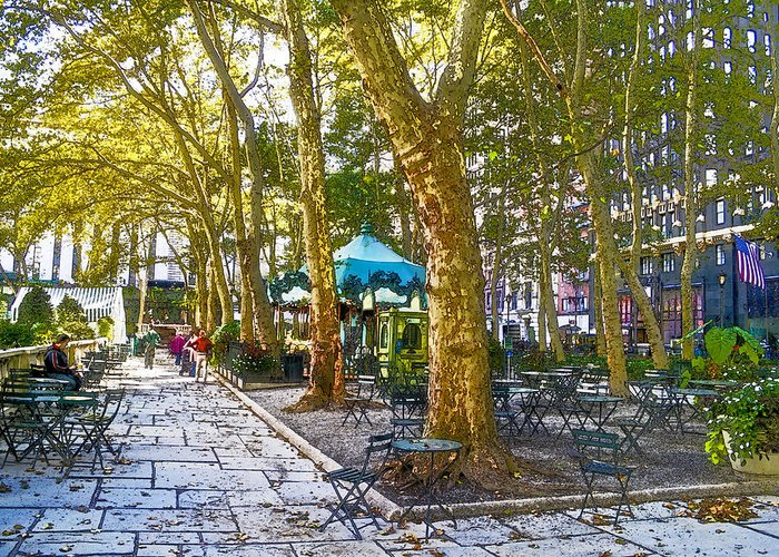 Bryant Park Greeting Card featuring the digital art Bryant Park October by Liz Leyden