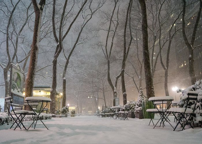 Nyc Greeting Card featuring the photograph Bryant Park - Winter Snow Wonderland - by Vivienne Gucwa