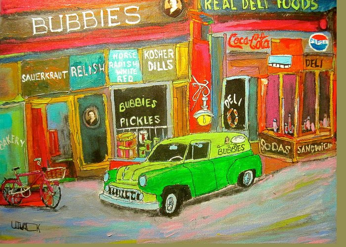 Pickles Greeting Card featuring the painting Bubbies Special Delivery by Michael Litvack