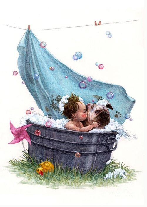 Bubble Greeting Card featuring the painting Bubble Bath by Isabella Kung