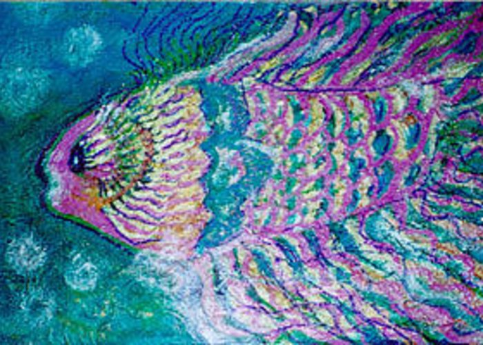 Fish Greeting Card featuring the painting Bubble Fish II by Anne-Elizabeth Whiteway