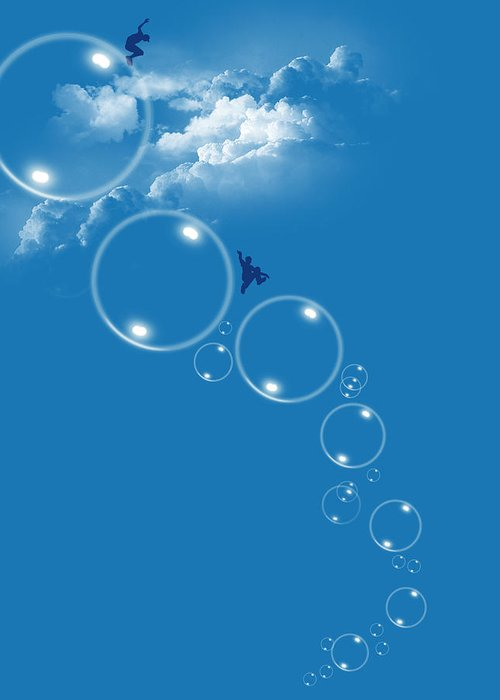 Sky Greeting Card featuring the digital art Bubble Gamers by Neelanjana Bandyopadhyay