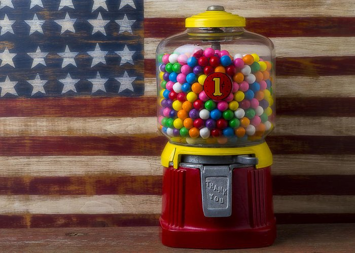 Bubblegum Machine American Greeting Card featuring the photograph Bubblegum Machine And American Flag by Garry Gay