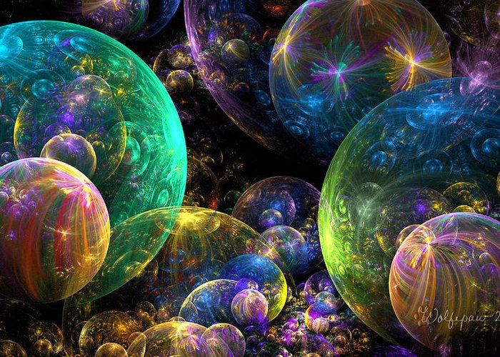 Abstract Greeting Card featuring the digital art Bubbles Upon Bubbles by Peggi Wolfe