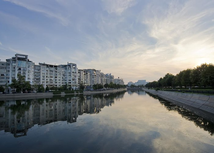 Bucharest; Bucuresti; Buildings; Capital; Cars; Clouds; Dambovita; Landscape; Municipal; Panorama; River; Sky; Town; Trees; View; Reflection; Water; Wide; Parliament; Building; Sunset; Greeting Card featuring the photograph Bucharest by Ioan Panaite