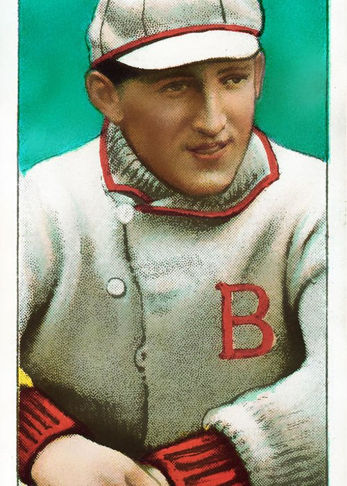 Baseball Card Greeting Card featuring the photograph Buck Herzog Boston Braves Baseball Card 0500 by Wingsdomain Art and Photography