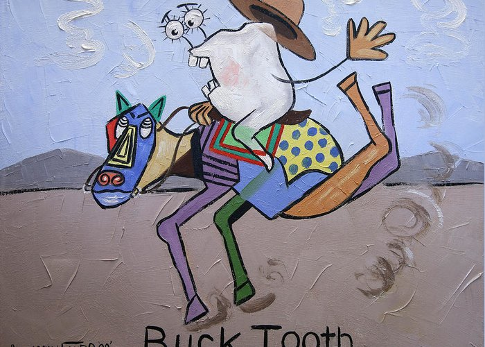 Buck Tooth Greeting Card featuring the painting Buck Tooth by Anthony Falbo