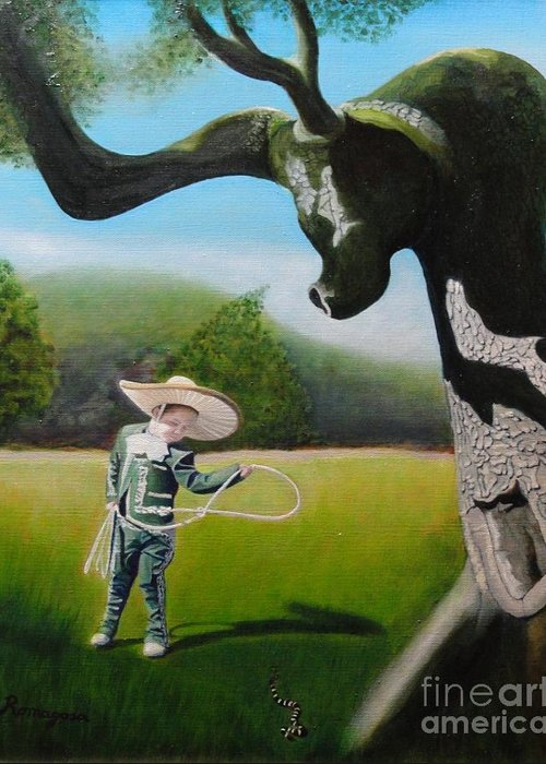 Child Greeting Card featuring the painting Buckaroo by Juan Romagosa