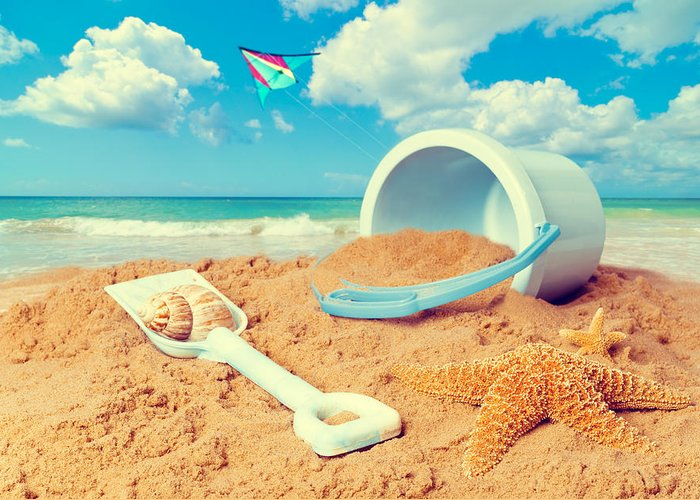 Bucket Greeting Card featuring the photograph Bucket And Spade On Beach by Amanda Elwell