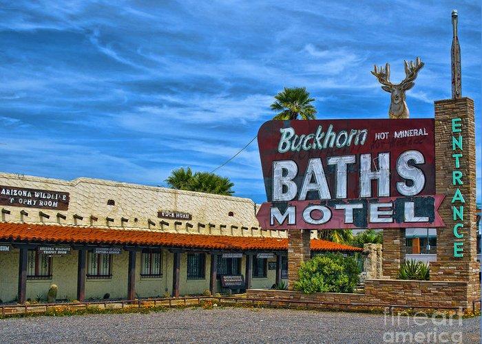 Arizona Greeting Card featuring the photograph Buckhorn Baths Motel by Brian Lambert