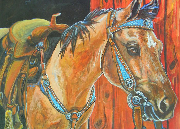 Horse Greeting Card featuring the painting Buckskin Filly by Jenn Cunningham